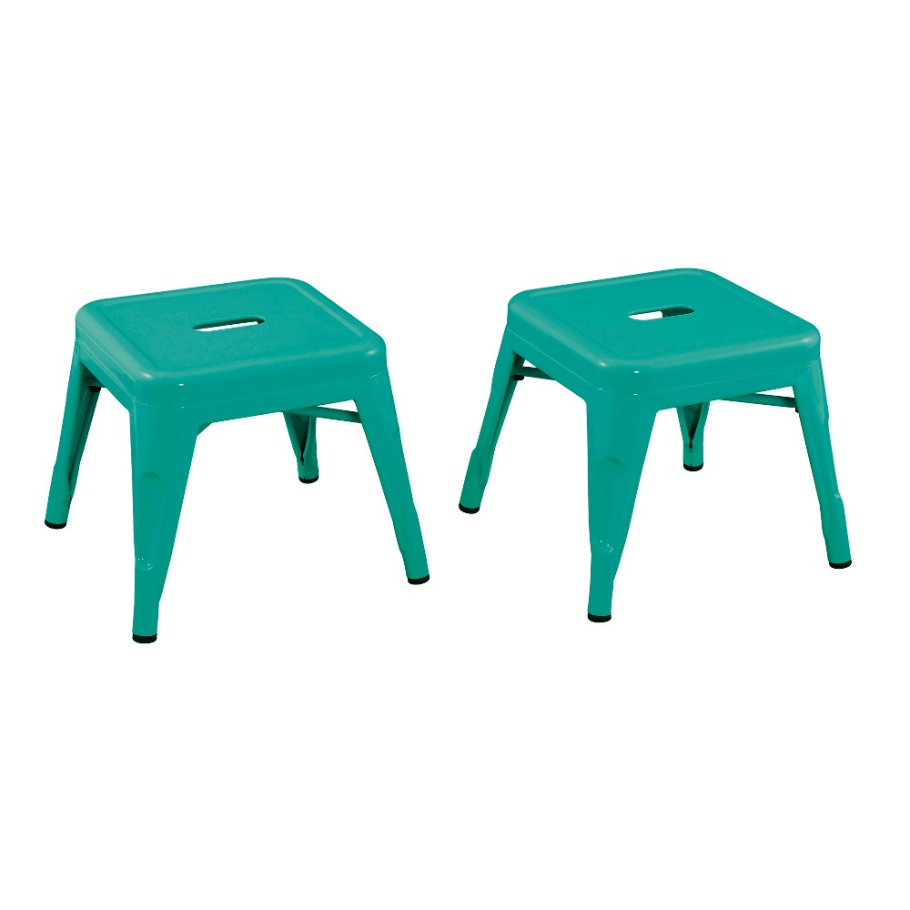 Image of Set of 2 Kids Metal Stool Teal - Acessential, Blue