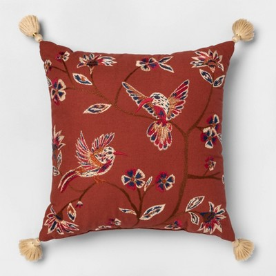 Embroidered Hummingbird Square Pillow - Opalhouse™