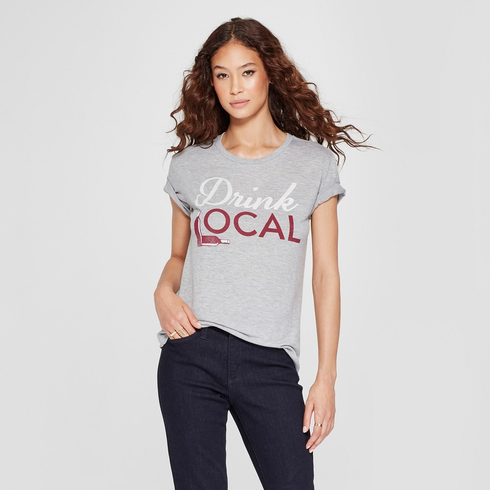 Women's Short Sleeve Drink Local Graphic T-Shirt - Awake Heather Gray S
