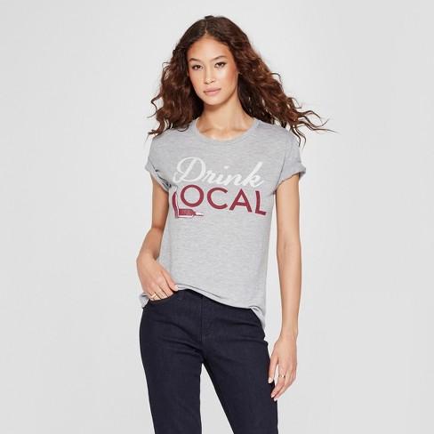 Women's Short Sleeve Drink Local Graphic T-Shirt - Awake Heather Gray XL - image 1 of 2