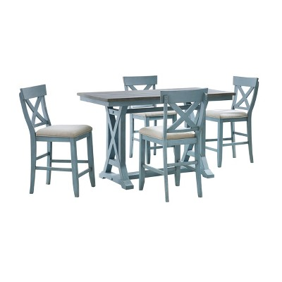 Skye II Counter Height Dining Table Blue - Treasure Trove Accents
