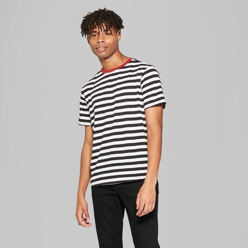 bf068e31964 Men s Striped Short Sleeve Curve Hem Crew T-Shirt - Original Use™ White    Target