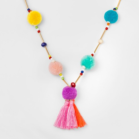 Girls' Poms & Tassels Pendant Necklace - Cat & Jack™ One Size - image 1 of 2