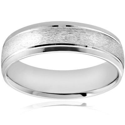 Pompeii3 6MM Platinum Mens Wedding Band Brushed Comfort Fit Flat Ring