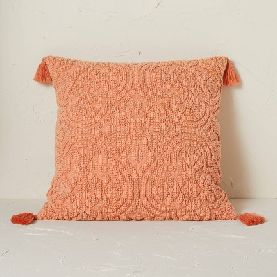 Arabesque Pattern Textured Square Throw Pillow Terracotta - Opalhouse™ designed with Jungalow™