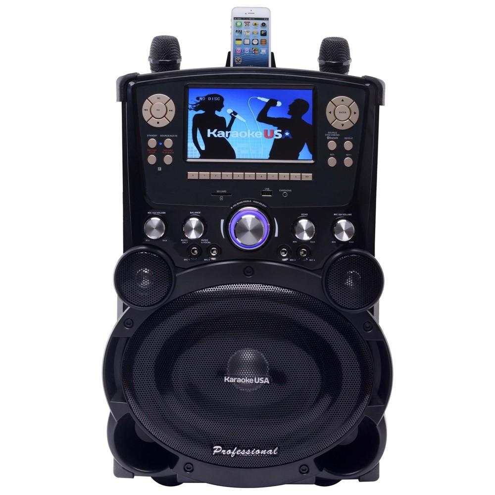 Karaoke USA Complete Professional Bluetooth Karaoke System with 7 Color Screen (GP978), Black/Silver