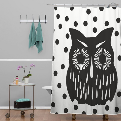 Garima Dhawan Vintage Black Owl Shower Curtain