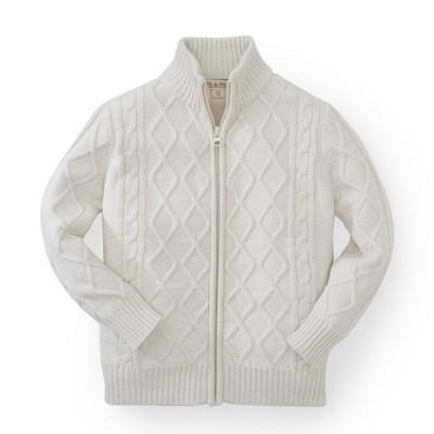 Hope & Henry Boys' Oatmeal Mock Neck Sweater with Full Zipper, Kids