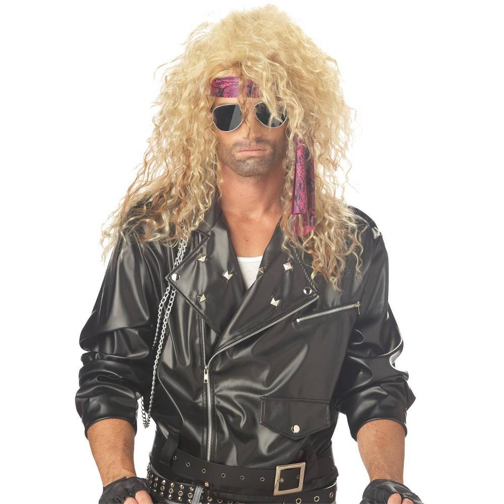 Image of Halloween Heavy Metal Rocker Blonde Costume Wig Golden, Adult Unisex