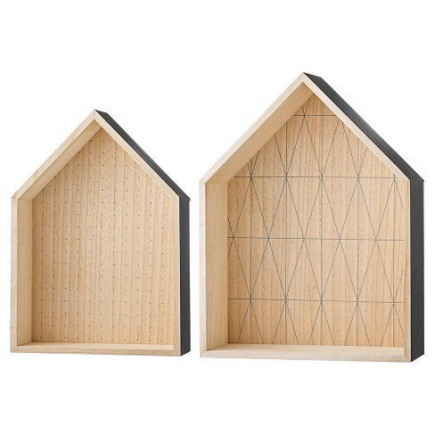 "Wood Display Houses set of 2 - Natural/Gray (14-1/2"") - 3R Studios - image 1 of 1"