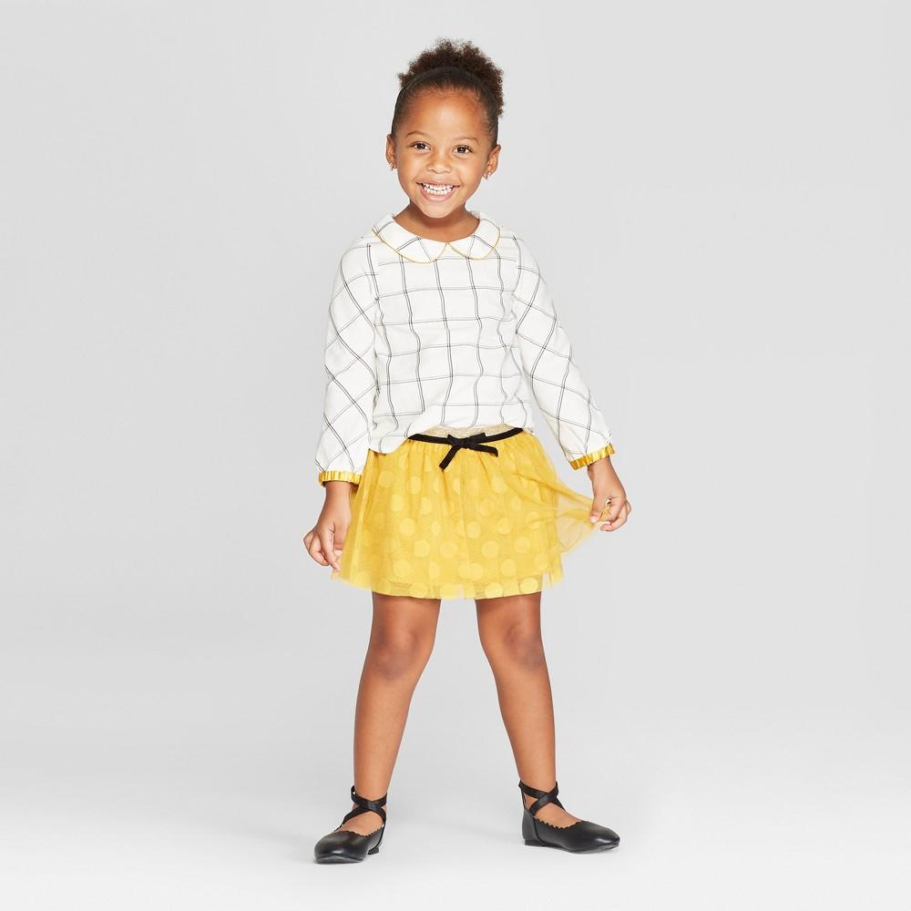 Toddler Girls' Window Pane Top and Bottom Set - Genuine Kids from OshKosh Cream 4T, White