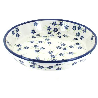 Blue Rose Polish Pottery Willow Pie Plate