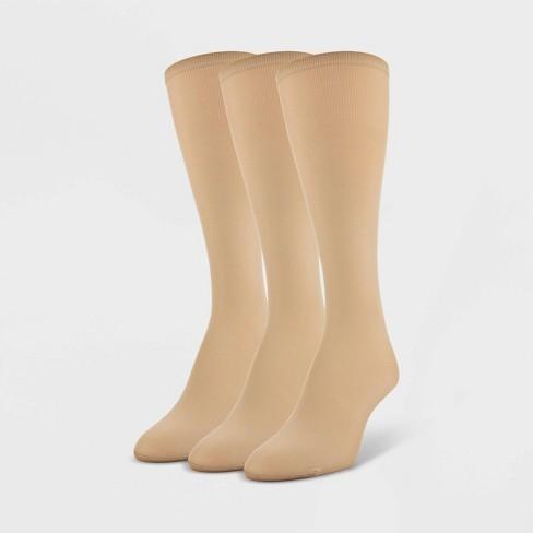 Peds Women's 3pk Light Opaque Trouser Socks - Nude 5-10 : Target