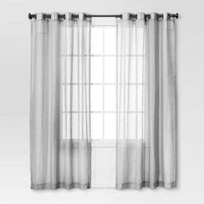 Linen Grommet Sheer Curtain Panel Gray - Threshold™