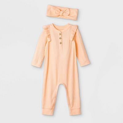 Baby Girls' Rib Romper with Headband - Cat & Jack™ Orange 3-6M