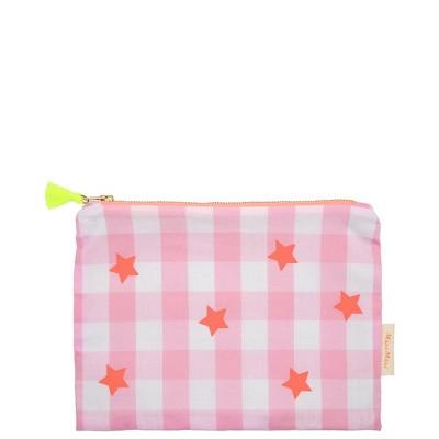 Meri Meri - Pink + Neon Gingham Pouch - Handbags - 1ct