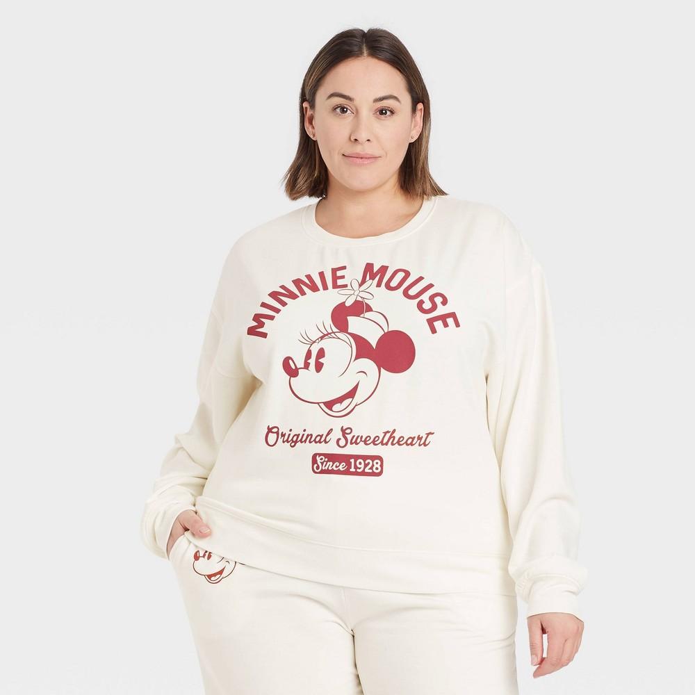 Women 39 S Vintage Minnie Mouse Plus Size Graphic Sweatshirt Off White 2x