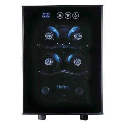 Haier 6 bottle Ultra Quiet Wine cellar, Black, Electronic Controls, HVTEC06ABS
