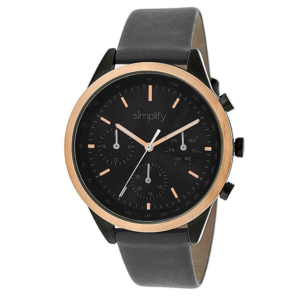 Simplify The 3800 Men's Multi - Function Leather Strap Watch - Black /Rose Gold/Charcoal heather, Charcoal Heather/Rose Gold