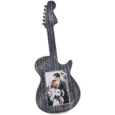 Juvale Wooden Guitar Picture Frame for 3 x 5 Inch Photos (Black 12 x 17 x 1 Inches)
