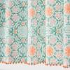 Medallion Print with Pom Fringe Shower Curtain Green/Orange - Opalhouse™ - image 2 of 3