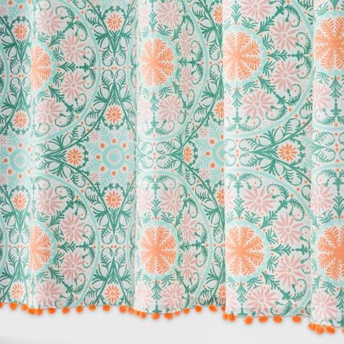 Medallion Print With Pom Fringe Shower Curtain Vapor Green Orange