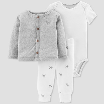 Baby Boys' 3pc Fox Cardigan Set - Little Planet by Carter's Gray 6M