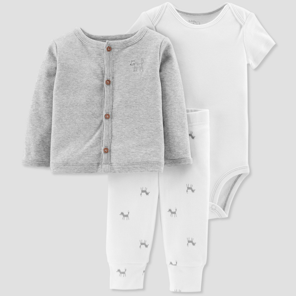 Baby Boys' 3pc Fox Cardigan Set - Little Planet by Carter's Gray 3M