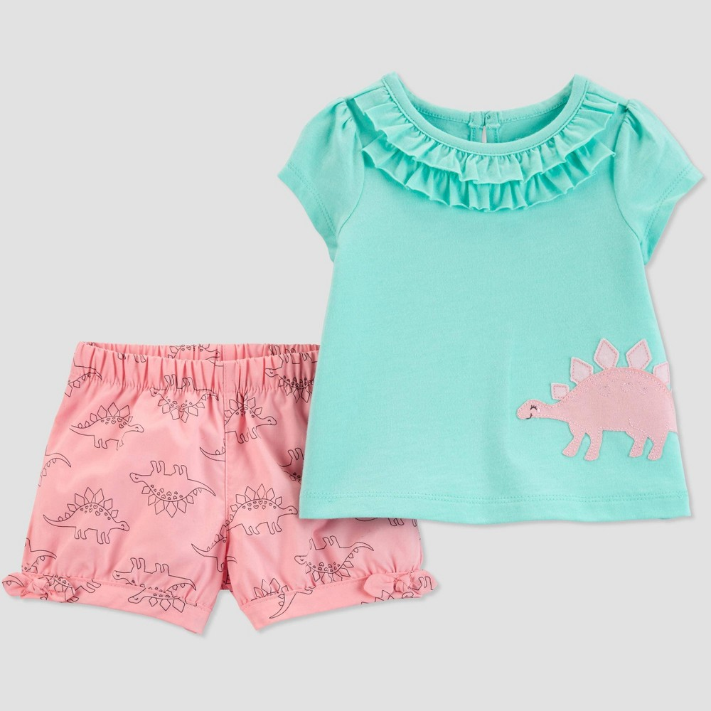 Baby Girls' 2pc Dino Top And Bottom Set - Just One You made by carter's Turquoise/Pink 12M, Blue