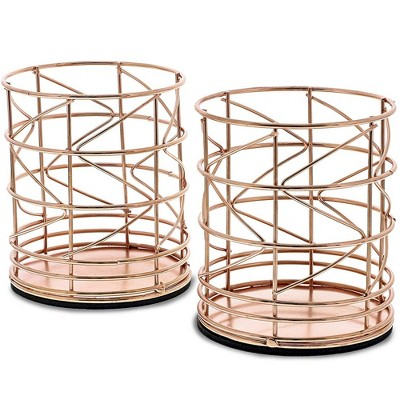 "Juvale 2-Pack Rose Gold Metal Wire Pen Holders, Makeup Brush Pencil Cup, 3.5"" x 3.5"" x 4"""