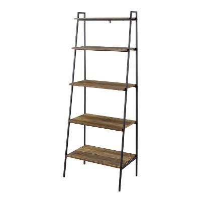 "72"" Sophia Open Storage Ladder Bookshelf Reclaimed Barnwood - Saracina Home"