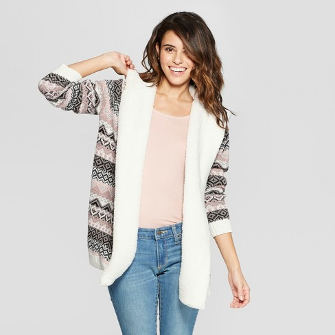 2ce40164825 Women s Cozy Jacquard Hooded Cardigan with Sherpa - Almost Famous  (Juniors ) Ivory