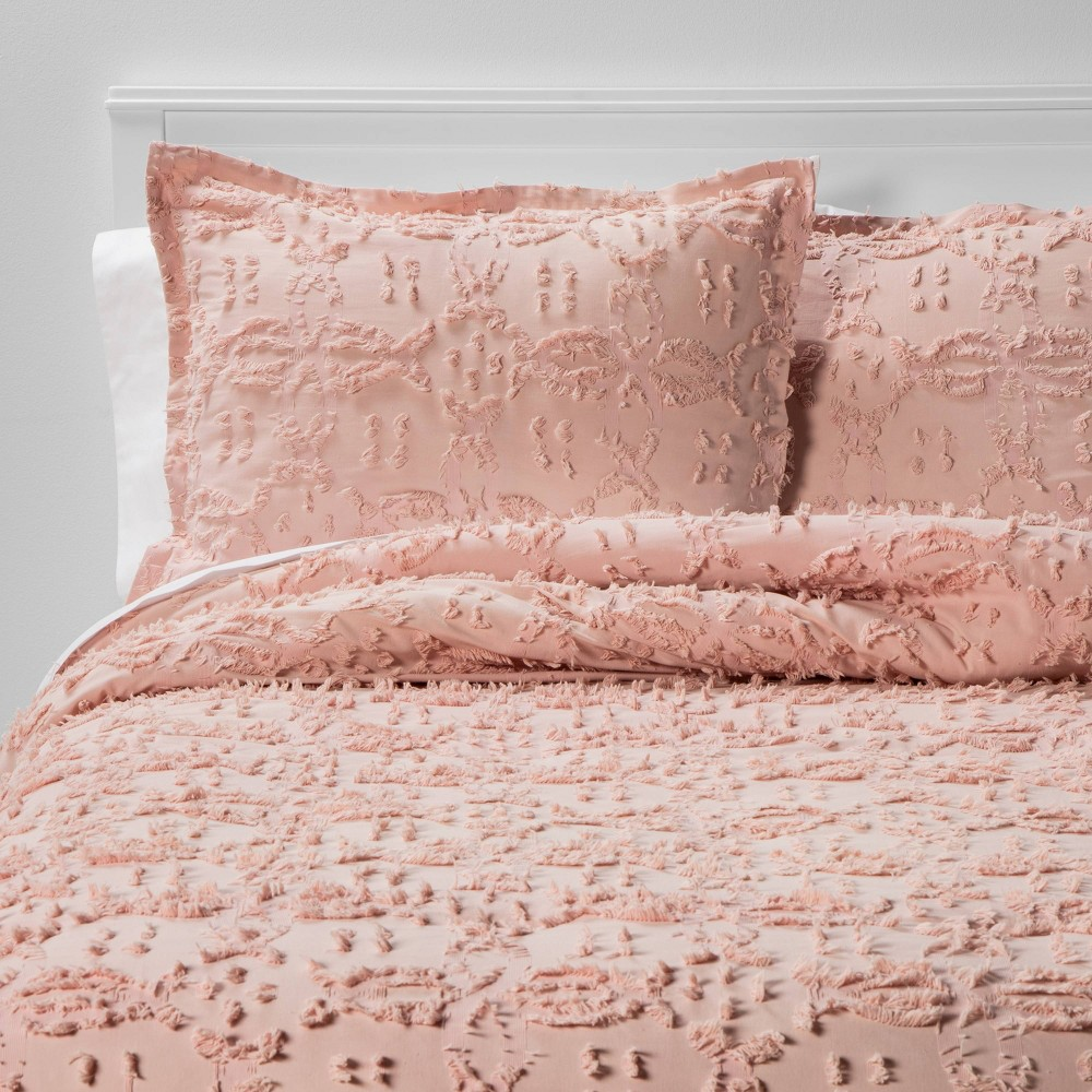 Twin Extra Long Twin Clipped Chenille Comforter 38 Sham Set Blush Threshold 8482