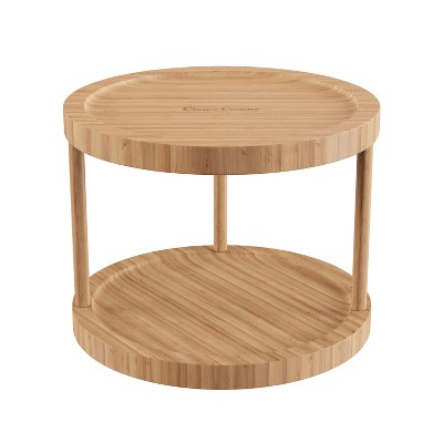 """Hastings Home 10"""" 2-Tier Bamboo Lazy Susan for Kitchens, Pantries, and Vanities - Natural Finish"""