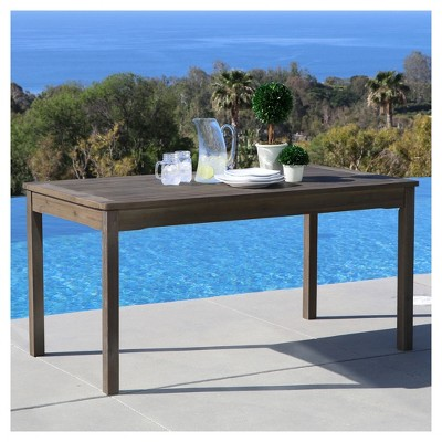 Vifah Renaissance Outdoor Hand-Scraped Rectangular Table - Gray