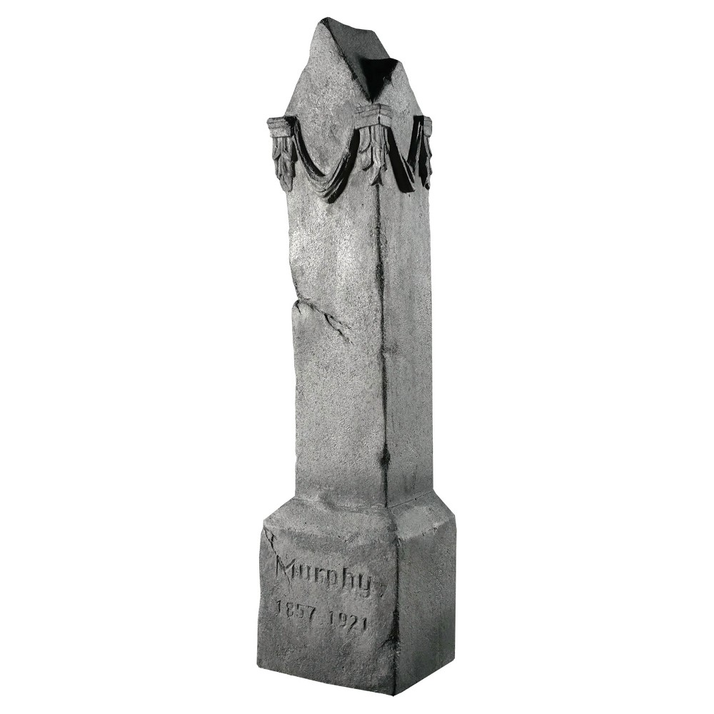 Image of Halloween 4' Rocking Pillar Tombstone, Multi-Colored