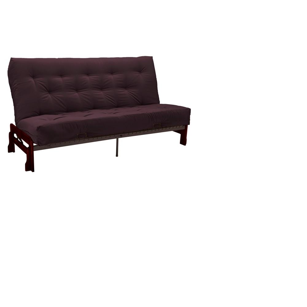 Low Arm 8 Cotton/Foam Futon Sofa Sleeper Mahogany Wood Finish - Epic Furnishings, Red
