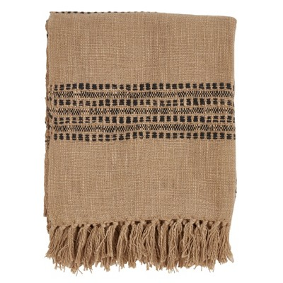 50 x60  Striped And Tassled Throw Blanket Brown - Saro Lifestyle