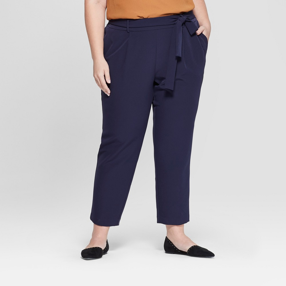 Women's Plus Size Tapered Ankle Pants with Belt - Ava & Viv Navy (Blue) 3X