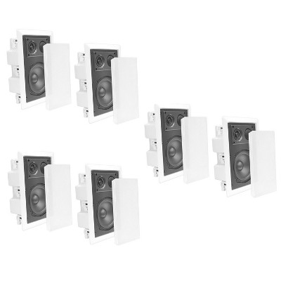 Pyle Home PDIW87 8 Inch 400 Watt 2 Way Enclosed Rectangular In-Wall/ In-Ceiling Flush Mounted Stereo Speaker System Pair, White (3 Pack)