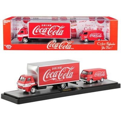 "1969 Dodge L600 COE Truck Coke Red & 1964 Dodge A100 Van Coke Red ""Coca-Cola"" Set Ltd Ed 5880 pcs 1/64 by M2 Machines"