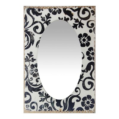 """23.5"""" x 15.75"""" French Country Floral Rectangle Wall Mirror White - Infinity Instruments"""