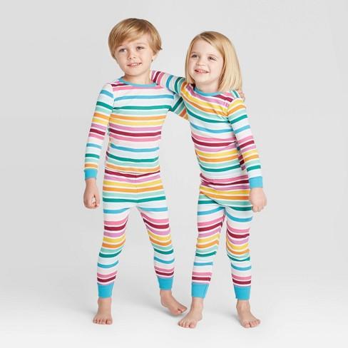 Toddler Rainbow Striped Pajama Set - Rainbow - image 1 of 3