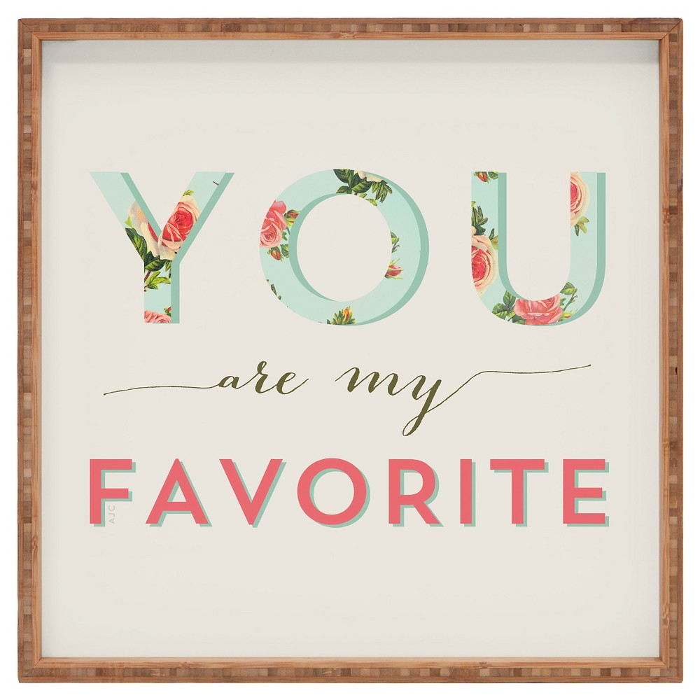 Image of Allyson Johnson Floral You Are My Favorite Square Tray - Pink - Deny Designs, Green Beige