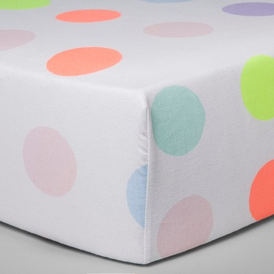 Fitted Crib Sheet Dots - Cloud Island™ White/Neon