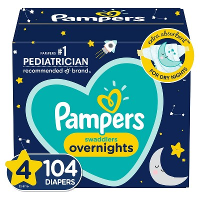 Pampers Swaddlers Overnights Diapers Enormous Pack - Size 4 - 104ct