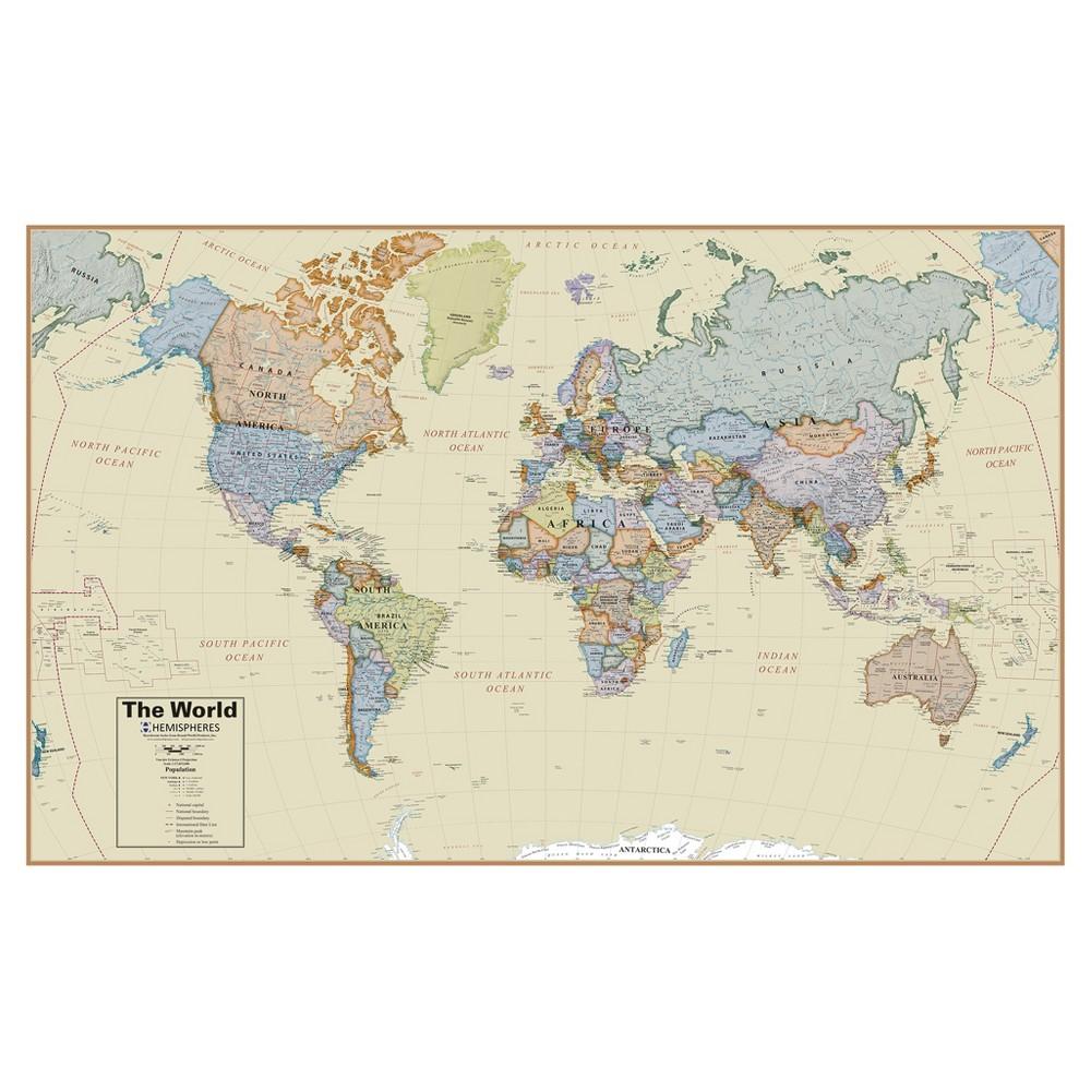 Hemispheres Boardroom World 1:27 Wall Map, Medium Beige