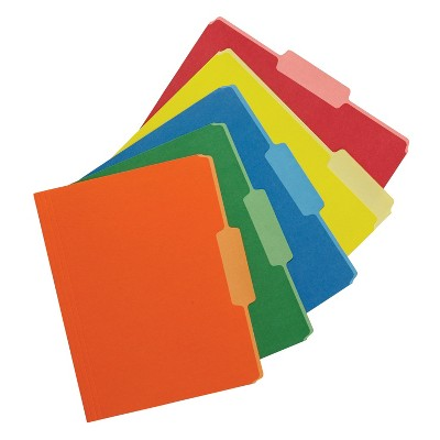 School Smart Two Tone Reversible Colored Folder, Assorted Colors, pk of 100