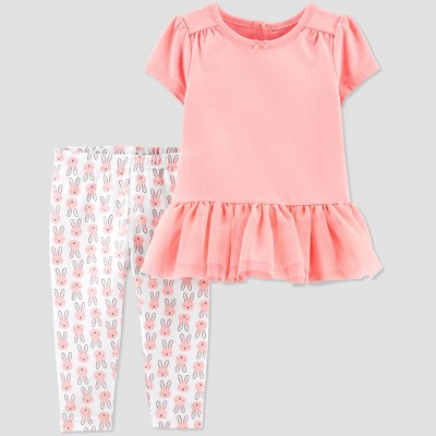 Baby Girls' 2pc Bunny Pant Set - Just One You® made by carter's Peach/White 3M