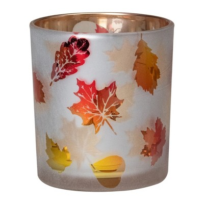 """Northlight 3"""" Matte White and Gold Autumn Leaves Flameless Glass Candle Holder"""